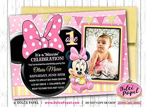 10 Baby Minnie Mouse Pink and Yellow Photo Birthday Party Invitations ANY AGE -