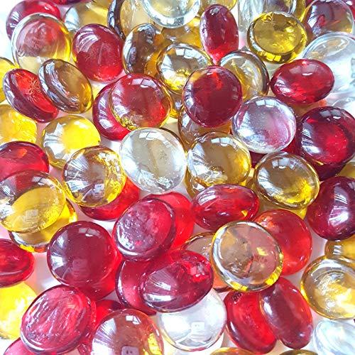 WeJe Glass Gems Standard 17-21mm Round Flat Back Marbles for Home Decor Art Craft Vase Filler Aquarium Fish Tank Decoration (140z, Sunrise Mix)