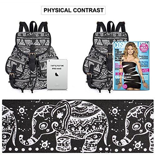 Filles De En Toile Serrage Femmes Sac Imprimé Dos Vbiger Style Pour Cordon Noir À Loisir Rustique D'école TWwqHx6n