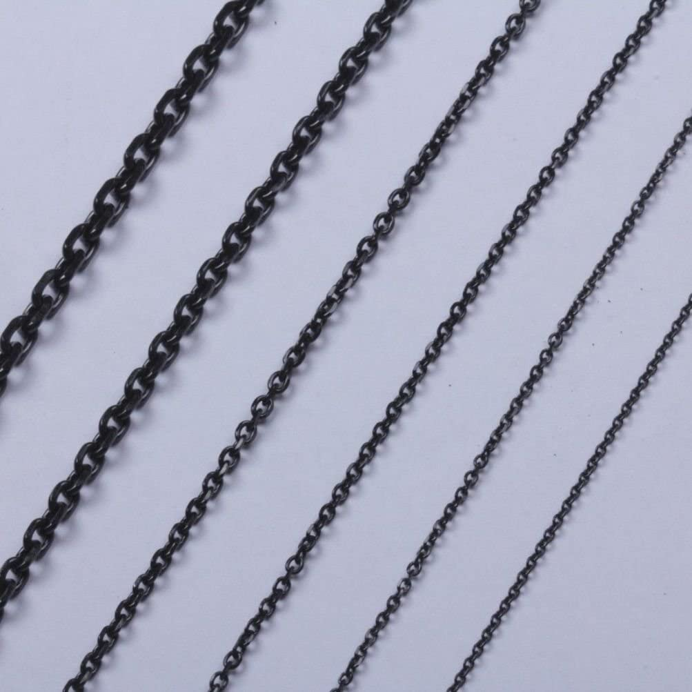Sandra Mens Jewelry 1.6mm to 5.0mm 18-40 Black Stainless Steel Cross Link Chain Necklace
