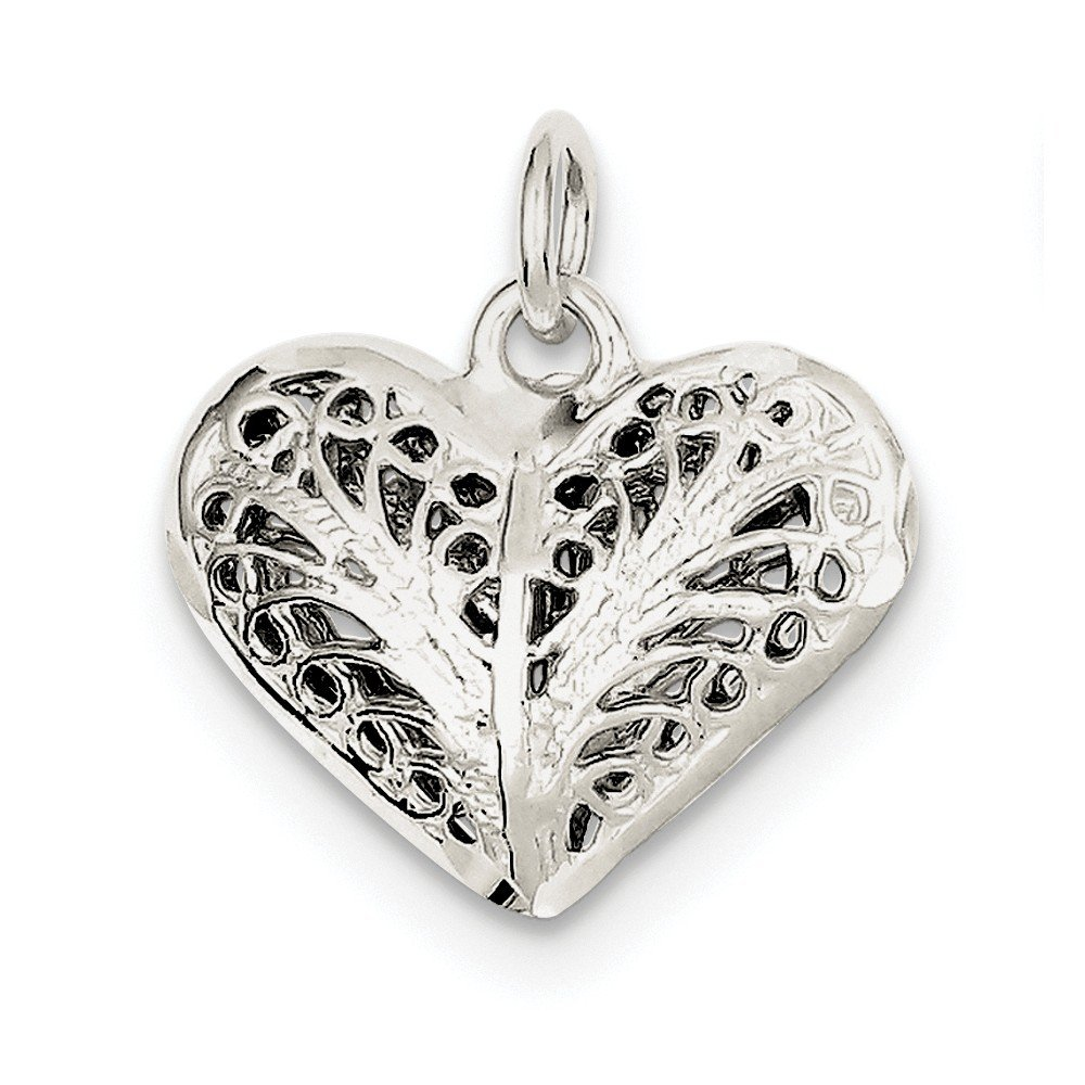 """/""""I Love You/"""" Filigree Heart Charm//Pendant in SOLID 925 Sterling Silver"""
