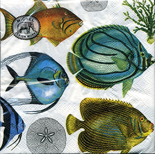 (Michel Design Works Tropical Fish Cocktail Napkins, Package of 20, 3-Ply)