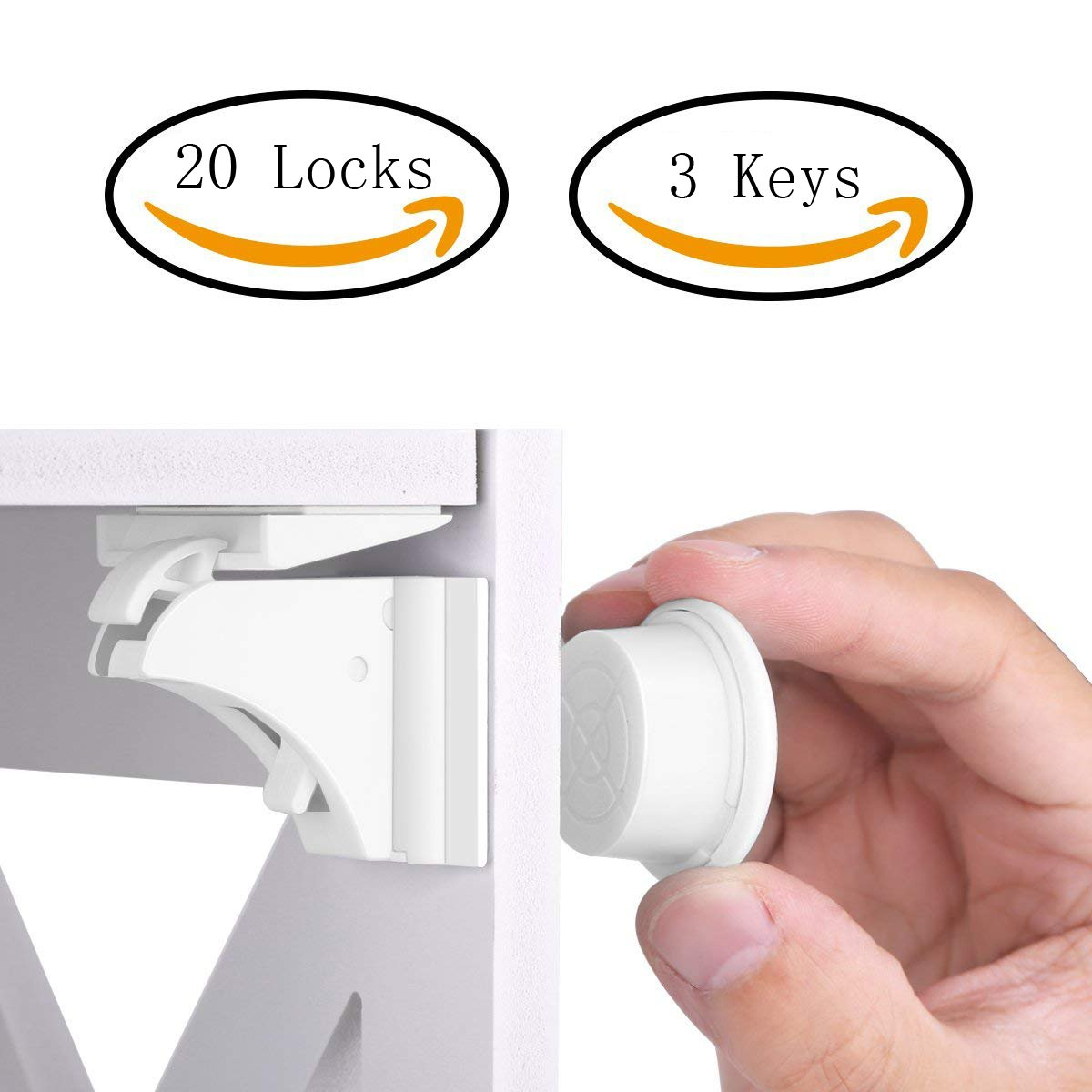 TOOLIC Magnetic Child Safety Locks Kits for Cabinet Drawer Cupboard Door Baby Proof Invisible No Drilling Design (3 Keys & 20 Locks) by TOOLIC (Image #1)