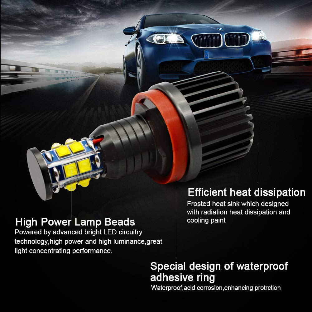 Lncboc 12W LED Angel Eyes No Error CanBus Headlight Halo Ring Marker Bulbs 450LM 6000K White for E90 E91 3 series 2 Pieces