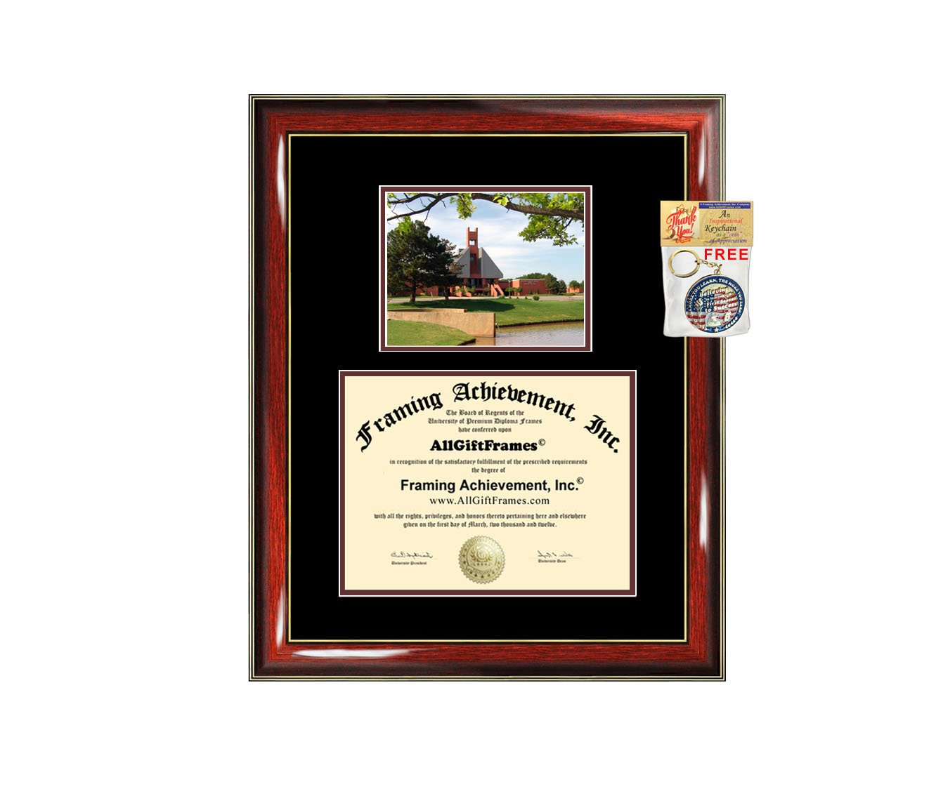 Oklahoma Christian University Diploma Frame OCU College Graduation Degree Frame Campus Photo Certificate Plaque Framing Graduate Gift Document Double Holder Case Bachelor Master PhD Doctorate