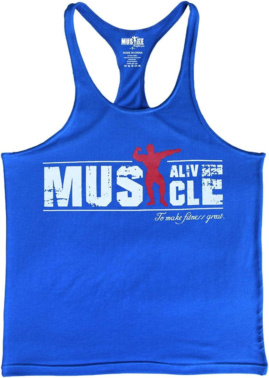 Muscle Alive Mens Bodybuilding Stringer Tank Tops Cotton Racerback