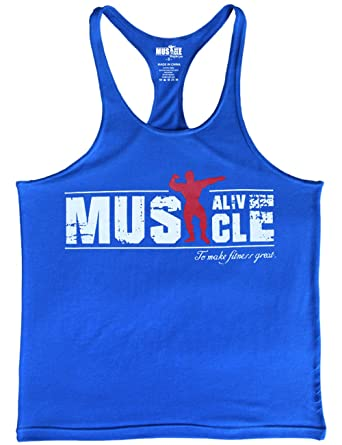 835b70538ddcd Amazon.com  MUSCLE ALIVE Mens Bodybuilding Stringer Tank Tops Cotton  Racerback  Clothing