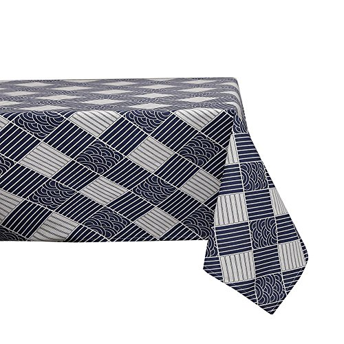 Sense Gnosis Waterproof Faux Linen 55 inch Round Tablecloth for Square Table Oil and Spill Proof Stain Resistant Striped Checkered Print Tabletop Cover for Kitchen Dining Table Tabletop Decoration