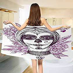 Day Of The Dead Bath towel Gothic Vampire like Dead Face Skull with Flowers Image Print Cotton Beach Towel Violet Purple and White (55x28)