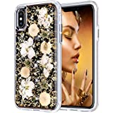 """iPhone X Case, Coolden Luxury Glitter Case with Dried Natural Flower Cute Girly Durable Shockproof 2-Layers Solid PC Cover Case + Flexible TPU Frame for 5.8"""" iPhone X/10 (2017), Gold Flower"""