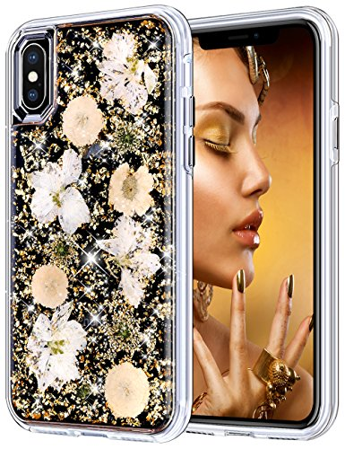 Coolden Case for iPhone X Case iPhone Xs Glitter Case with Dried Natural Flower Cute Girly Durable Shockproof 2 Layers Solid PC TPU Cover Case for 5.8 Inches iPhone X 10 Xs, Gold -
