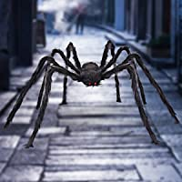 Halloween Giant Spider 6.6 FT, Libay Outdoor Halloween Decorations Large Fake Hairy Spider Scary Furry Spider Props Outside Yard Creepy Decor, Black