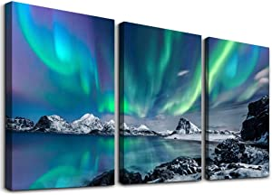 farmhouse Wall Art Aurora Scenery Painting on Canvas Wall decorations for living room Stretched and Framed Canvas Paintings 3 piece bedroom bathroom wall decor Ready to Hang for office Home Decor art