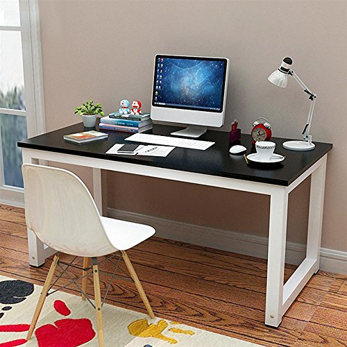 yaheetech simple computer desk pc laptop writing study table workstation wood desktop metal