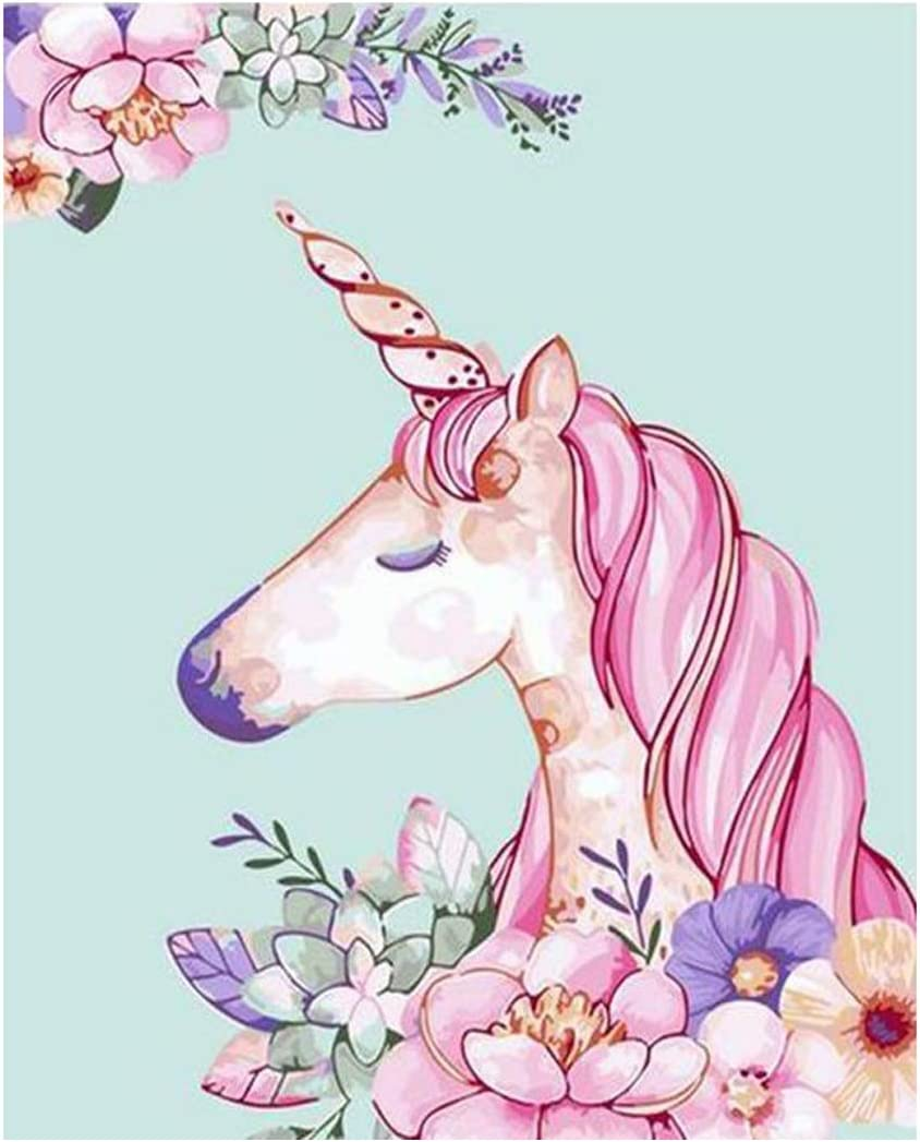 Paint by Numbers Unicorn Unframed Digital Painting Easy for Adults Beginner Kids