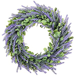 """Evoio Artificial Wreath, 14"""" Artificial Lavender Wreaths DIY Plastic Flowers Garland Pendant for Front Door Wall Home Wedding Decoration Circular 8"""