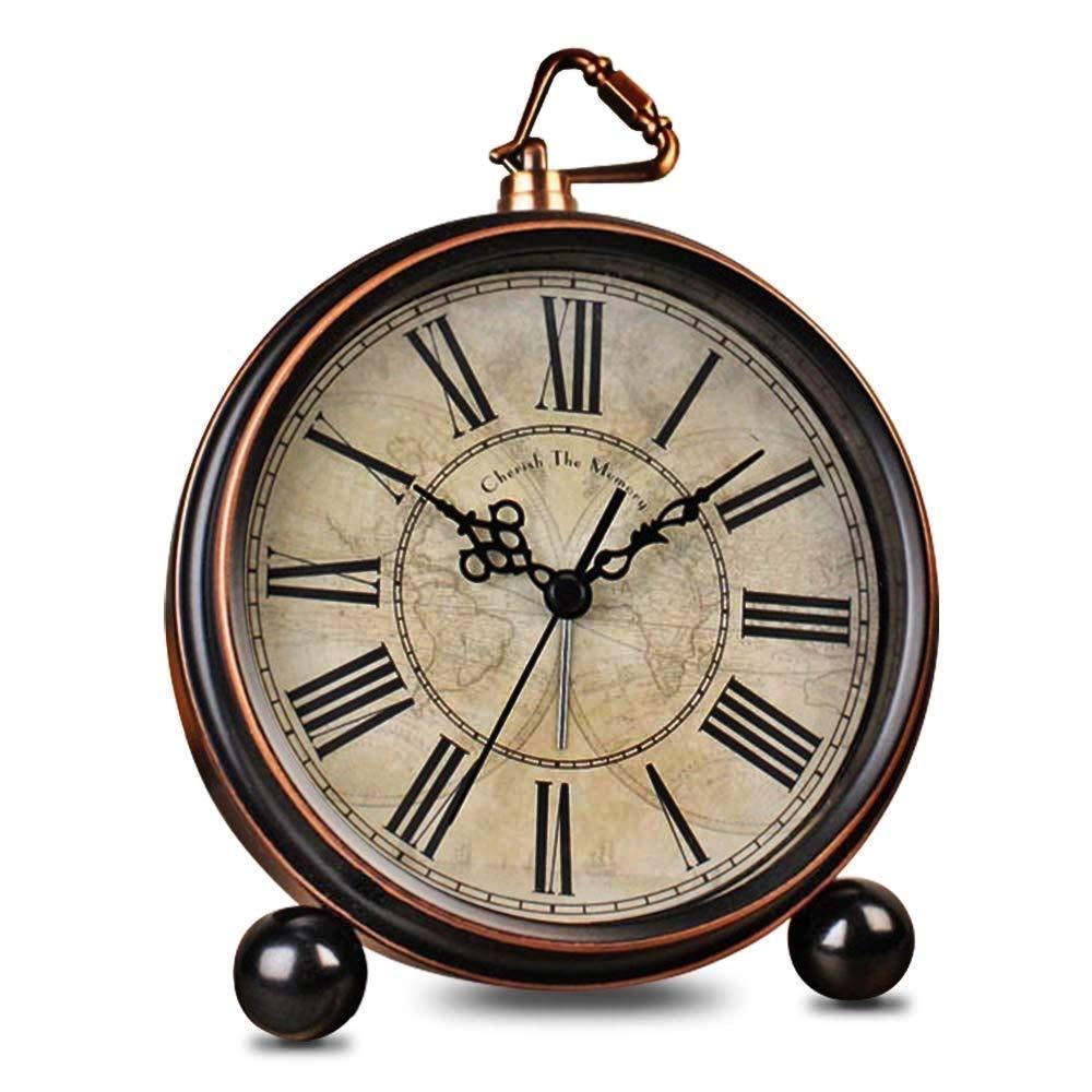 HeQiao Vintage Silent Desk Alarms Clock (Bronze)
