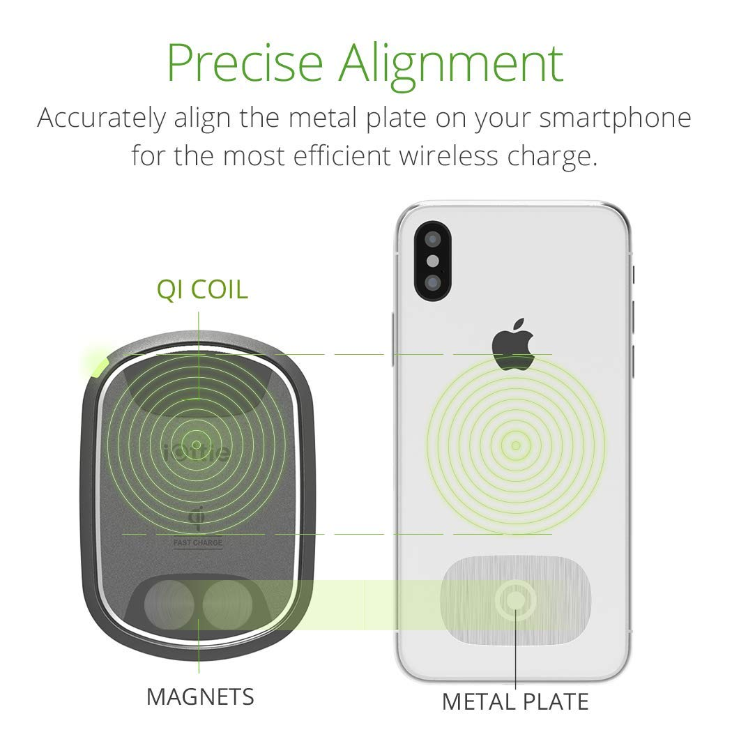 iOttie iTap 2 Wireless Magnetic Qi Wireless Charging Air Vent Mount || Compatible with iPhone Xs XR X Max Samsung S10 S9 + Smartphones | + Dual Car Charger by iOttie (Image #2)