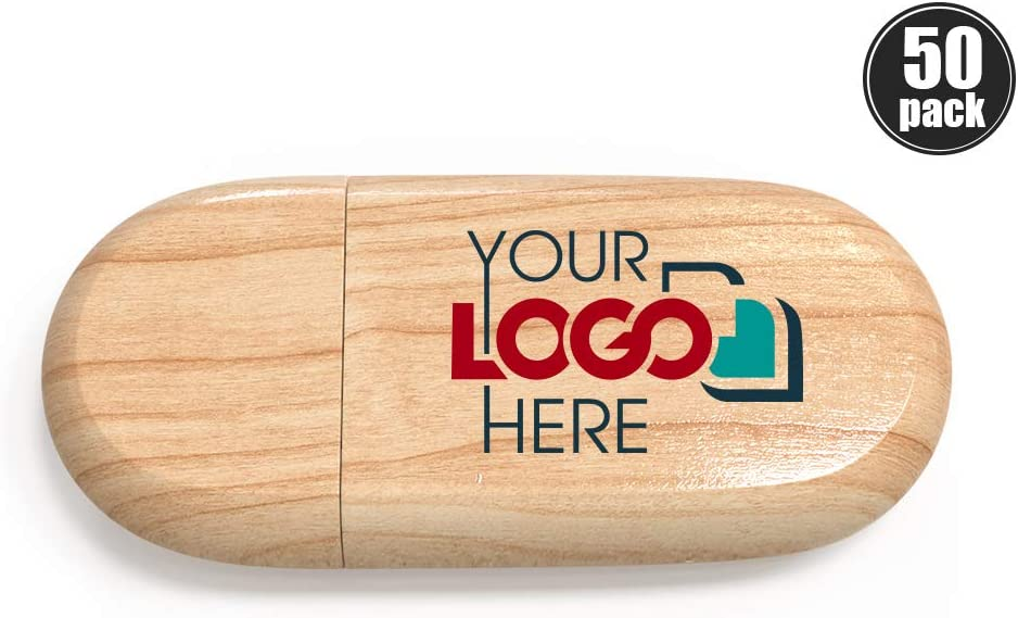 Possibox Custom Wood USB Flash Drive 256MB Printed or Engraved with Your Logo Maple 100 Pack Bulk USB 2.0 as Promotional Gift