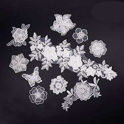 NBEADS 10 Pcs White Mix Style Embroidery Lace Flower Iron On Patches Appliques DIY Sewing Craft for Decoration, Sew On Patches for Repairing and Decorating Clothing, Bags