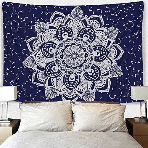 Icejazz Dark Blue Purple Mandala Tapestry Wall Hanging Flowe