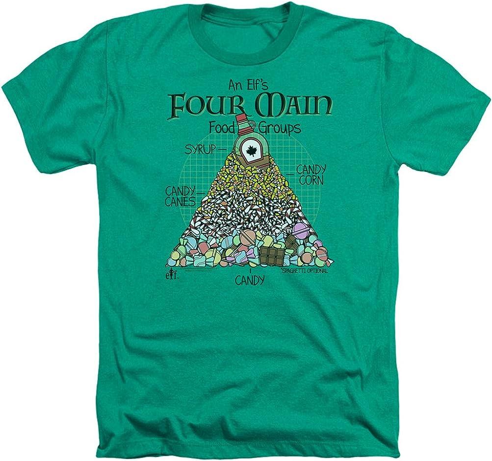 A&E Designs Elf Shirt Four Main Food Groups Christmas Heather T-Shirt