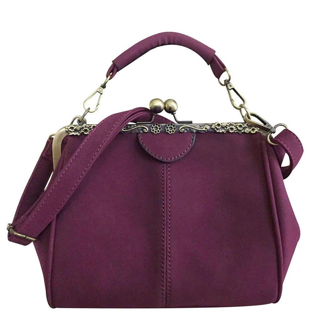Donalworld Women Retro Kisslock handbag Manmade Leather Bag Metal Frame Purse B