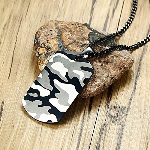 Metal Color: 42785, Length: 60cm Davitu Cool Camouflage Dog Tag Necklace for Men Stainless Steel Soldier Army Male Pendant Collar Jewelry