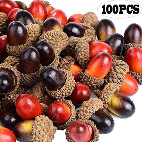 Dejian 100pcs Artificial Lifelike Simulation Small Acorn for Fall Table Scatter Crafting Drawing Home House Kitchen Home Party Christmas and Autumn Decoration