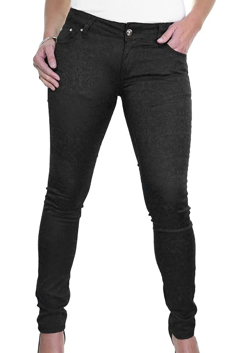 ICE (1520-1) Stretch Super Skinny Low Rise Jeans Emboss Flock Effect Black