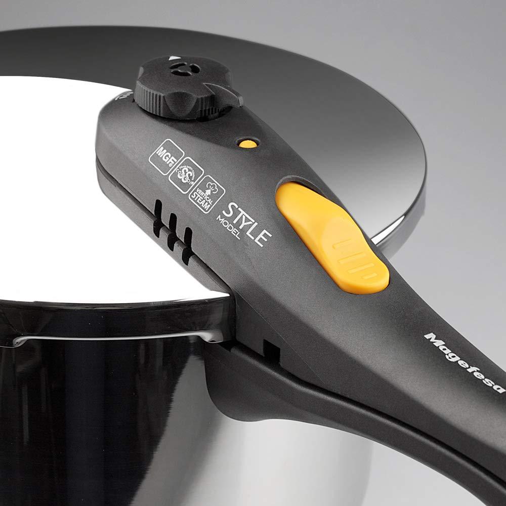 MAGEFESA Style Olla a presión Super rápida de fácil Uso, Acero Inoxidable 18/10, inducción 3L+6L