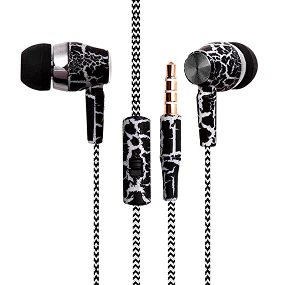 threaded earphones, denpetec 3 in1 in- ear headphone with microphone  braided wire powerful bass
