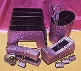 Light Purple Violet Office Supplies: Light Purple Glitter Desk Stapler, Tape Dispenser, Scissors, 4 Binder Clips (32mm), Large Pencil Cup, Incline File Sorter, and Stapler Remover Set