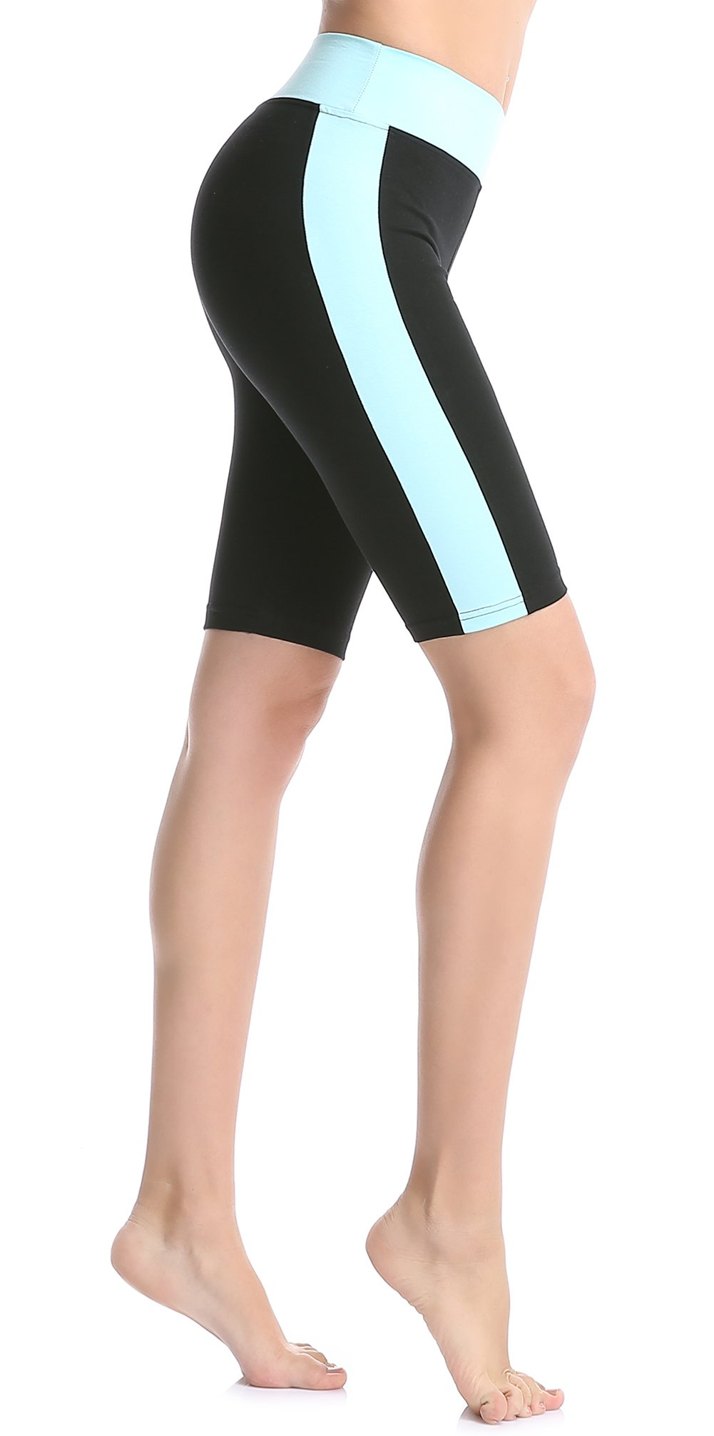 ABUSA Women's Cotton Workout Bike Yoga Shorts - Tummy Control S Sky Blue