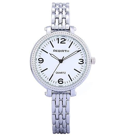reloj con clase de las mujeres maduras modernas con el reloj de acero de plata fina cadena de línea blanca pequeña de las señoras del vestido: Amazon.es: ...