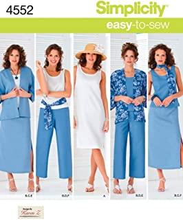 product image for Simplicity Easy-to-Sew 4552 Plus Size Skirt, Pants, Dress, and Scarf Sewing Pattern for Women by Karen Z, Sizes AA (10-18)