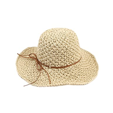 a773bb23be5 Opromo Women s Wide Brim Caps Foldable Hollow Straw Hat Summer Beach Sun  Hats-Beige