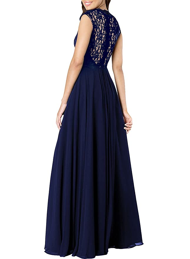 9b1822ea9871 Amazon.com: Miusol Women's Casual Deep- V Neck Sleeveless Vintage Wedding Maxi  Dress: Clothing