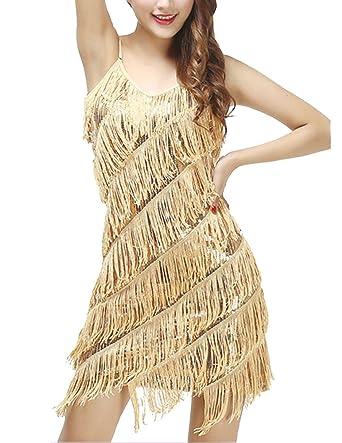 Gladiolus Damen Elegant Abendkleid Festlich Kleid Glitzer Vintage Ärmellos  Tanz Kleider Aprikose Gold Einheitsgröße a6b312803f