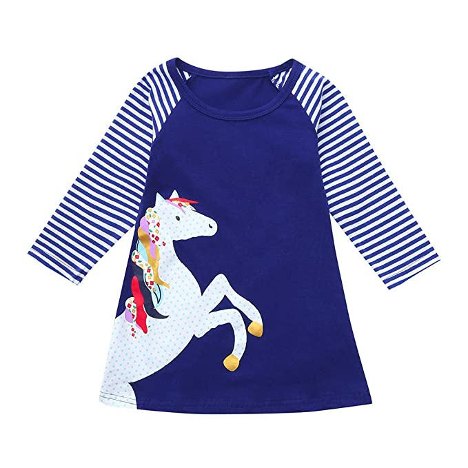 Lovely Baby Girl Infant Kid Cute Horse Animal Cartoon Print Striped Casual Dress