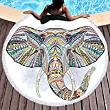 Sleepwish Thick Round Beach Towel Terry, Elephant Beach Blanket, Beach Roundie Circle Yoga Mat with Fringe, Bohemian Elephant Beach Tapestry (Tribal Henna, 60'')