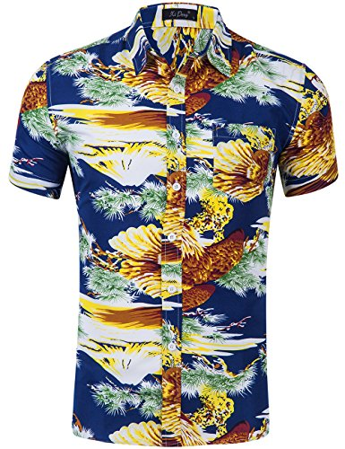 XI PENG Men's Tropical Short Sleeve Floral Print Beach Aloha Hawaiian Shirt (Navy Blue American Bald Eagle, - Eagle Retro
