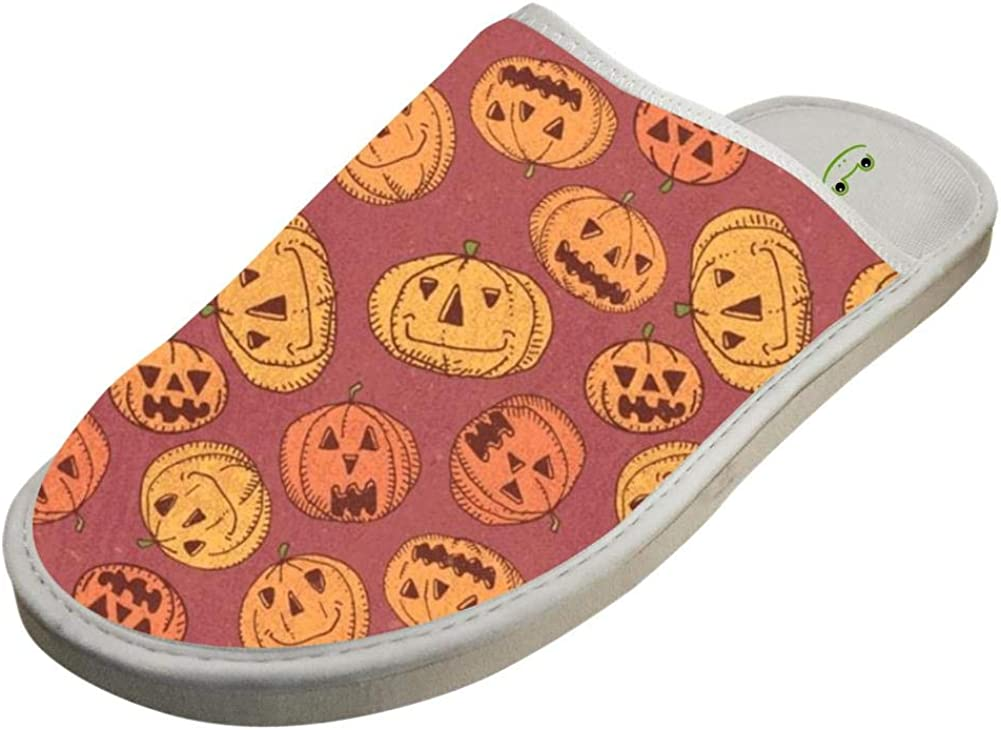 Womens and Mens House Slippers Halloween Pumpkin Couple Sandals Closed Toe Indoor//Outdoor Slip on Shoes