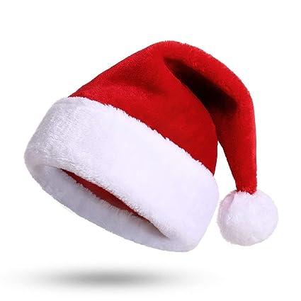 1d5eb1b2eb99c Fablcrew Bonnet Noel Chapeau de Père Noël Adultes Taille Ornements de Noël  Chapeau de Noel Rouge