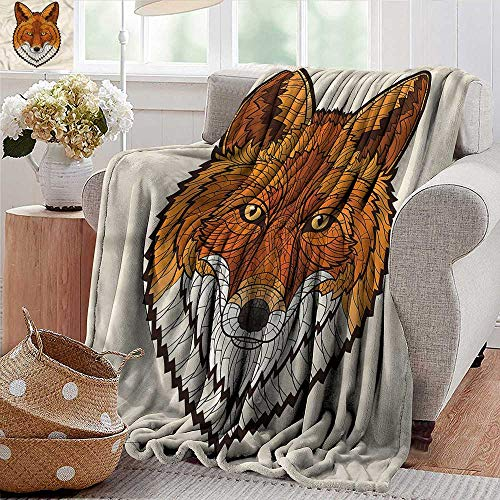 (Xaviera Doherty Weighted Blanket for Kids Fox,Mascot Face Mosaic Style Soft Summer Cooling Lightweight Bed Blanket)
