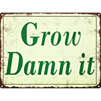 Jesiceny Great Tin Sign Grow Damn It Vintage Look Rustic Garden Funny Retro Aluminum Metal Sign Wall Decoration 12x8…