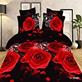 Queen Size 3d Flower Red Rose Black Skin Print Bedding Sets, 100% Cotton, include 4pcs with Duvet Cover, Bed Sheet, 2*pillow Case,not Include Any Filler or Comforter