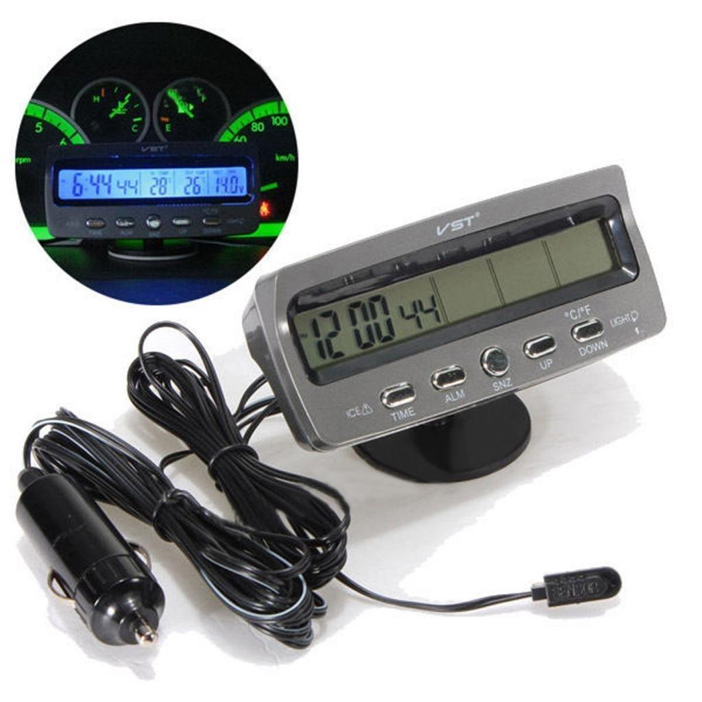 FidgetFidget Car Voltage Monitors Battery Alarm In/Out Temperature LCD Thermometer Clock by FidgetFidget (Image #2)