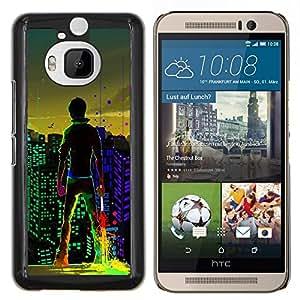 KLONGSHOP // Cubierta de piel con cierre a presión Shell trasero duro de goma Protección Caso - Big City Boy luces de colores Arte de Windows - HTC One M9Plus M9+ M9 Plus //