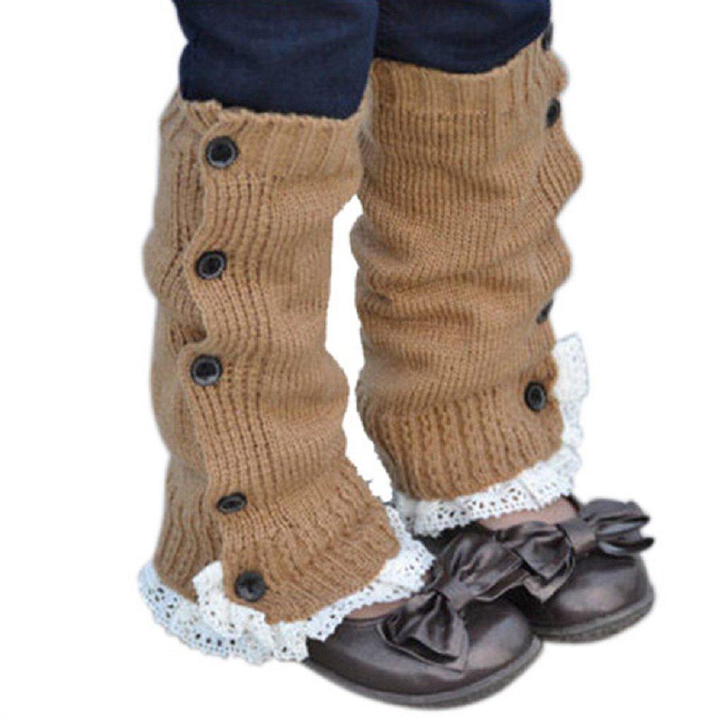 Koly Kids Girls Crochet Knitted Lace Boot Cuffs Toppers Leg Warmer Socks (Pink) Koly-SF